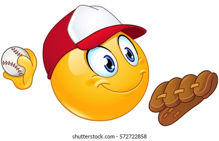 Baseball pitcher player emoticon with ball and glove