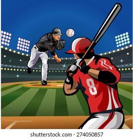 Baseball pitcher throws ball.
