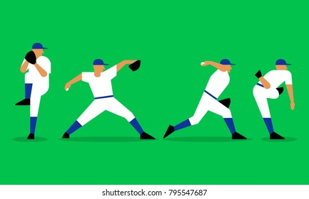 Baseball pitcher throws the ball in a motion. Baseball player in flat design on green background. Vector illustration
