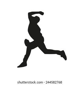 Baseball pitcher vector silhouette