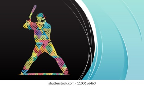 Baseball player in action. Abstract background, summer sports, team game.