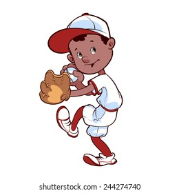 Baseball player with ball and glove is preparing to throw the ball. Vector clip-art illustration on a white background.