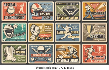 Baseball player and batter with bat, ball at arena. Baseball and softball sport tournament and equipment. Vintage retro sport posters, fan club and championship, cup match