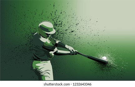 Baseball Player - Batter With Green Uniform on a Green Gradient Background