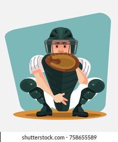 Baseball player character. Vector cartoon illustration