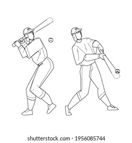 Baseball Player Hit Ball With Bat On Field Black Line Pencil Drawing Vector. Professional Baseball Player Playing Sport Game With Sportive Accessories. Character Hitting Motion, Active Lifestyle