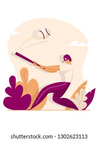 Baseball Player Hit the Ball. Sport concept. Vector illustration in flat style