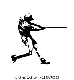 Baseball player, hitter swinging with bat, abstract isolated vector silhouette, ink drawing