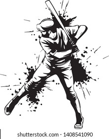 Baseball player hitter swinging with bat vector in black and white illustration