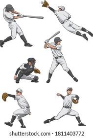 野球選手のイラストセット(バッター、ピッチャー、キャッチャー、ディフェンス)