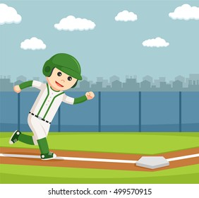 baseball player running to the safe point