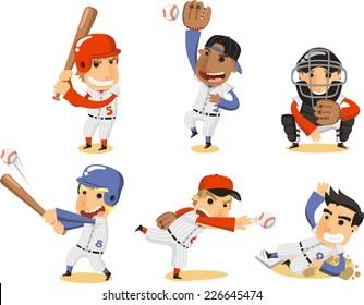 Baseball Player Set, with Catcher, pitcher, third base, shortstop, fielding team and batter vector illustration cartoon.
