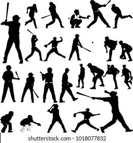 Baseball player silhouette collection - vector