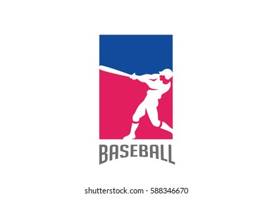 Baseball Player silhouette Logo design vector template. Sport Logotype icon Negative space style