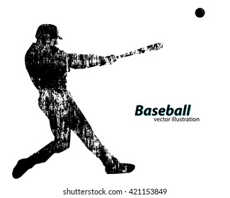 baseball player silhouette. Text on a separate layer, color can be changed in one click