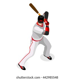 Baseball Player Sportsman Batter Sports Icon Set. 3D Isometric Sport Set Baseball USA Major League Championship People Set Competition. Sport event Infographic Batter Vector Illustration