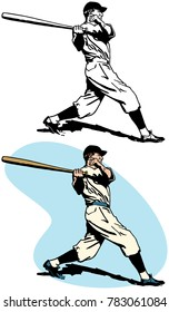 A baseball player swinging and hitting a home run
