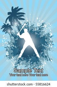 Baseball player in tropical background