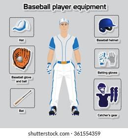 Baseball player uniform and equipment