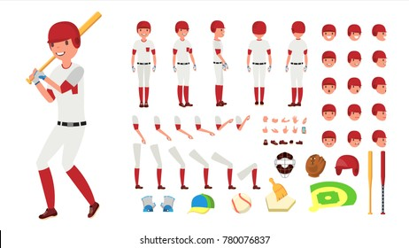 Baseball Player Vector. Animated Character Creation Set. American Base Ball Tools And Equipment. Full Length, Front, Side, Back View, Accessories, Poses, Face Emotions, Gestures. Isolated Flat Cartoon