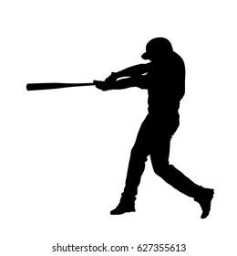 Baseball player vector isolated silhouette, batter swinging with bat