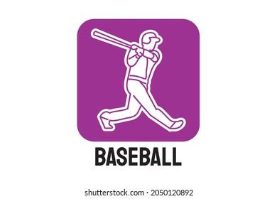 Baseball player vector line icon. batter and ball logo, equipment sign. sport pictogram illustration