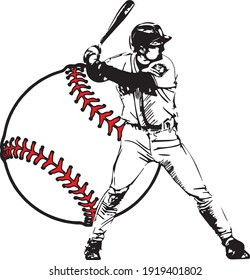 白い背景に野球の選手のベクター画像