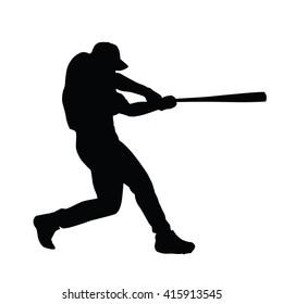 Baseball player vector silhouette. Baseball batter. Baseball player hits the ball