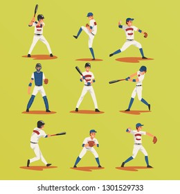 Baseball Players In Different Poses set, Softball Male Athletes Characters in Uniform Vector Illustration