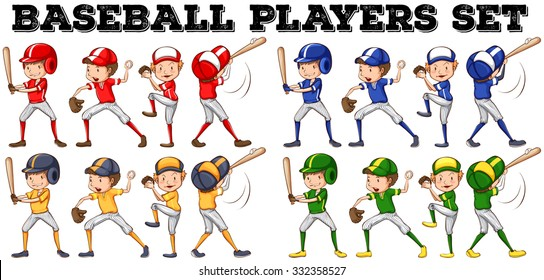Baseball players in different positions illustration