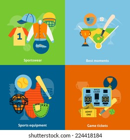 Baseball players protective sportswear equipment match scoreboard and trophy celebration flat icons infographics vector illustration