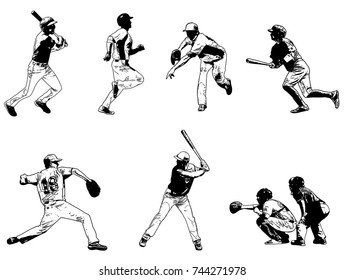 baseball players set - sketch illustration,vector