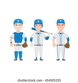 baseball players in uniform isolated on white background