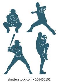 Baseball positions - vector illustration
