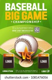 Baseball Poster, flyer brochure, vector illustration.
