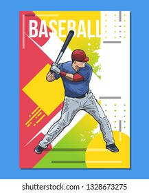 Baseball poster, placard. Vector illustration of a baseball player with bat, ready to hit. Beautiful sport themed poster. Abstract background, summer sports, team game
