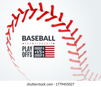 Baseball poster. Promotion flyer with softball ball with red lace stitches, professional sport club tournament, sports event announcement, championship invitation vector template on white background