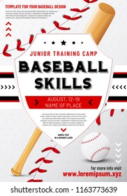 Baseball poster template with shield, ball and bat - sample text in separate layer. Vector illustration.