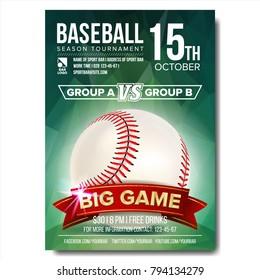 Baseball Poster Vector. Design For Sport Bar Promotion. Baseball Ball. Modern Tournament. Game Illustration