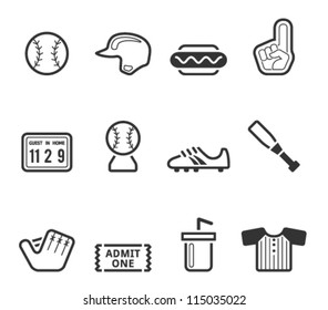 Baseball related icons in black and white