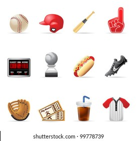 Baseball related icons.  EPS 10 with transparencies & transparent shadows placed on layer beneath.