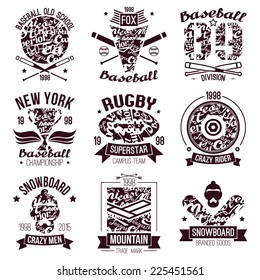 Baseball, rugby, snowboard college sport  emblems. Graphic design for t-shirt.  Black  print on a  white background
