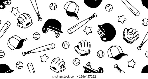 baseball Seamless pattern vector soft ball sport glove helmet star scarf isolated tile background repeat wallpaper