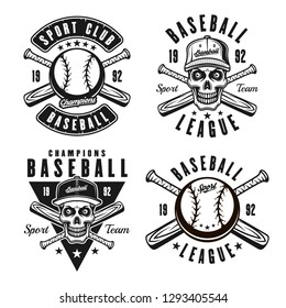 Baseball set of four vector emblems, badges, logos or t shirt prints in vintage monochrome style isolated on white background