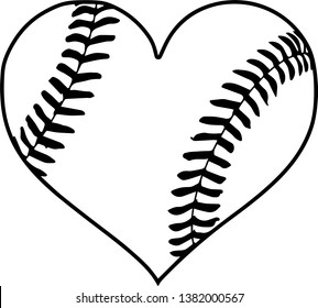 Baseball Shaped Like A Heart With Stitches