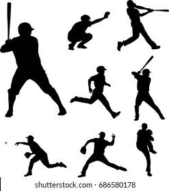 baseball silhouettes collection 2 - vector