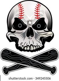 Baseball skull ball and bat