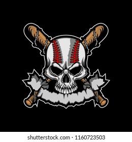 Baseball Skull with banner template vector illustration