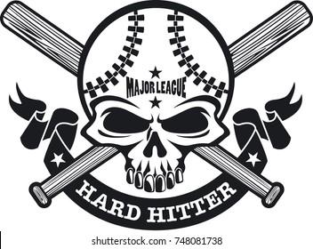 baseball skull with crossed baseball bats and banner