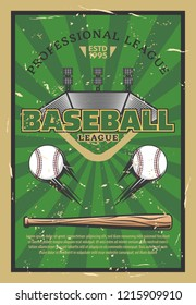 Baseball or softball sport game stadium field, balls, bat and infield bases. Baseball league tournament, sport club championship match announcement. Vector illustration